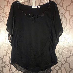 Black batwing sleeve dressy top.